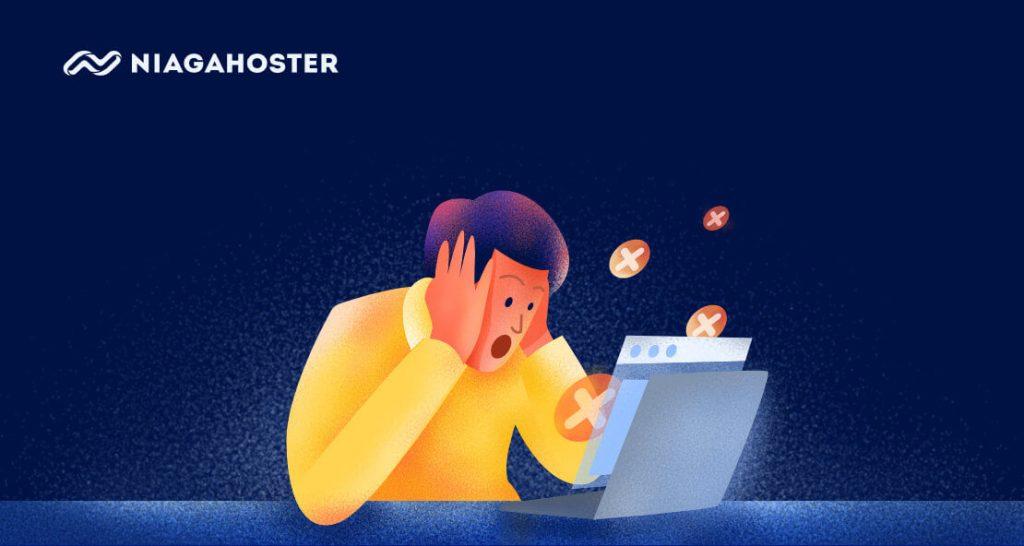 ilustrasi panik karena website error