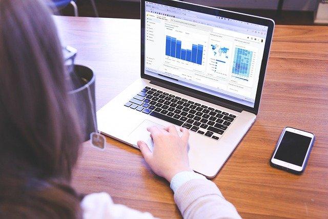 ilustrasi orang memantau laptop
