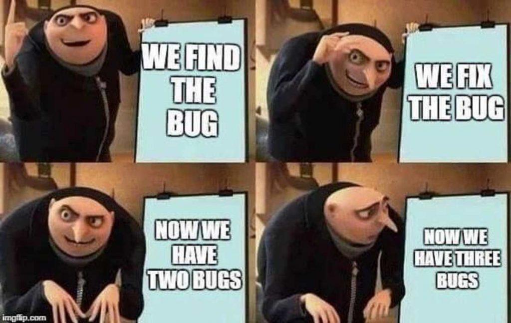 menganalisis error pada bug dengan teknik buttom-up