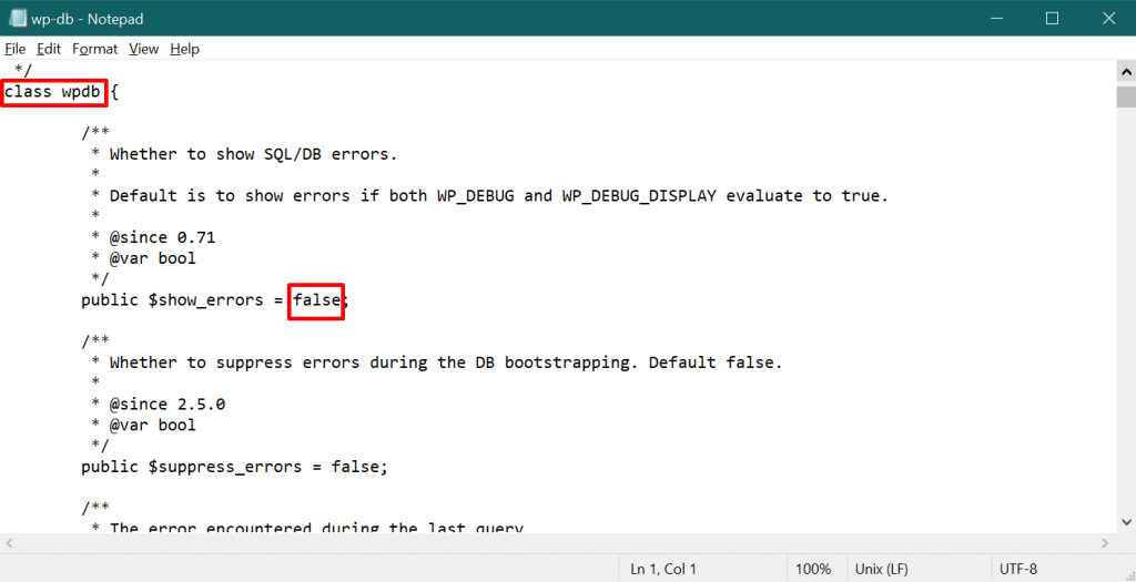 mengubah value $show_errors untuk memulai debugging