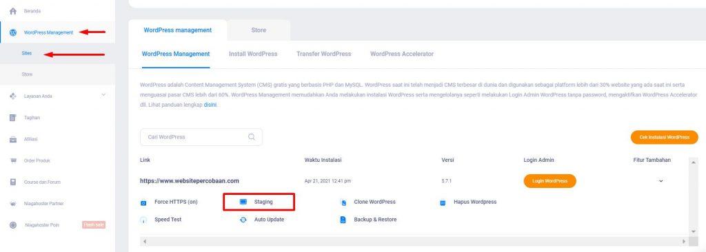tutorial membuat WordPress staging di Member Area Niagahoster untuk debugging