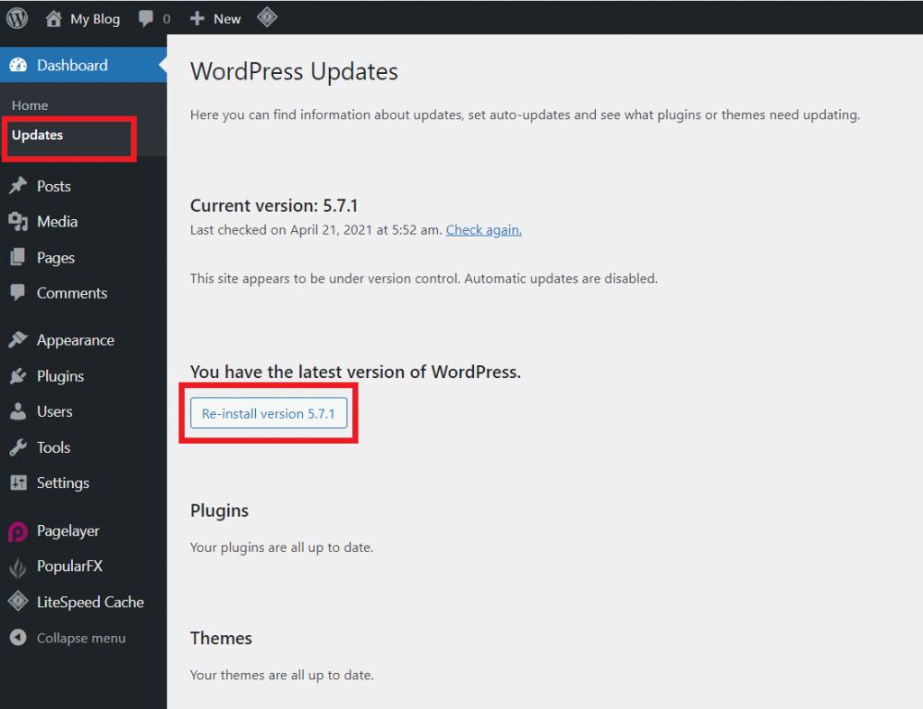 Install Ulang Core WordPess Melalui Dashboard