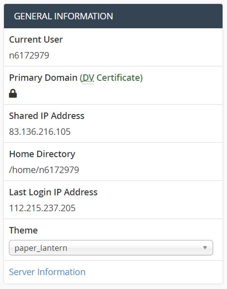 Informasi IP Hosting di cPanel