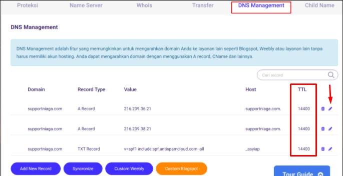 Mengatur TTL (Time to Live) DNS