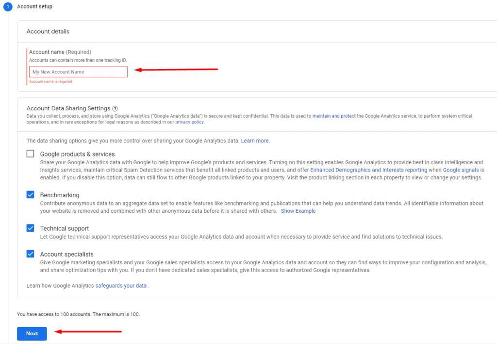 Kolom untuk nama akun Google Analytics