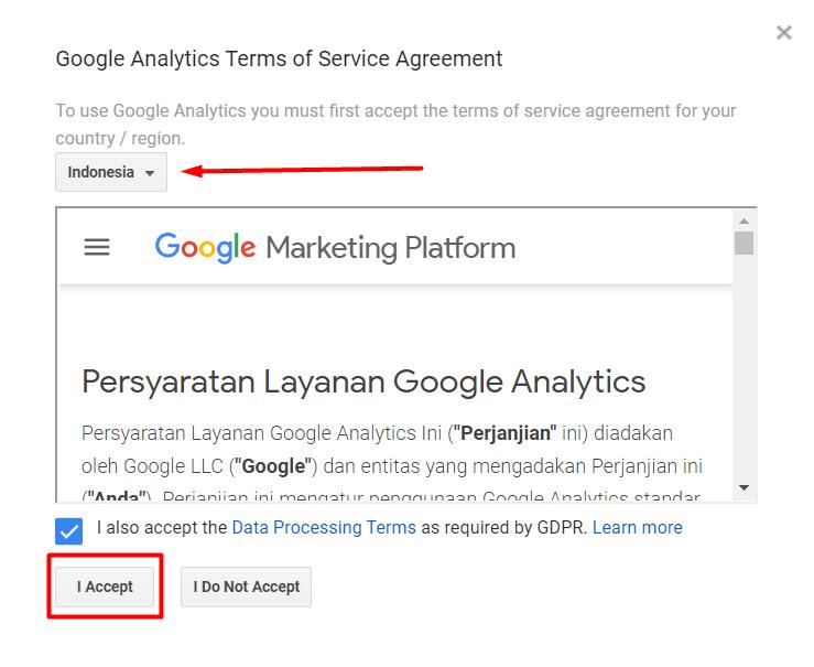 Menyetujui terms of service Google Analytics