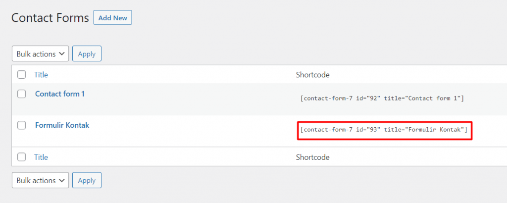 Shortcode formulir kontak