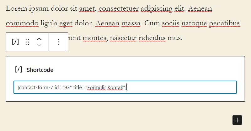 Memasukkan shortcode formulir kontak di blok editor WordPress
