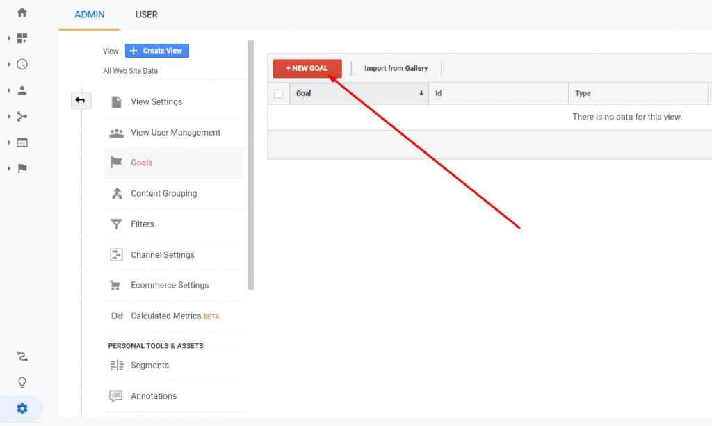 Tombol untuk membuat goal baru di Google Analytics
