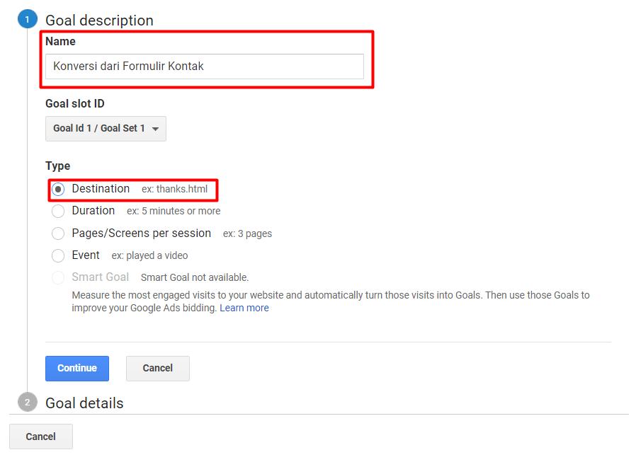 Menentukan nama dan jenis goal Google Analytics