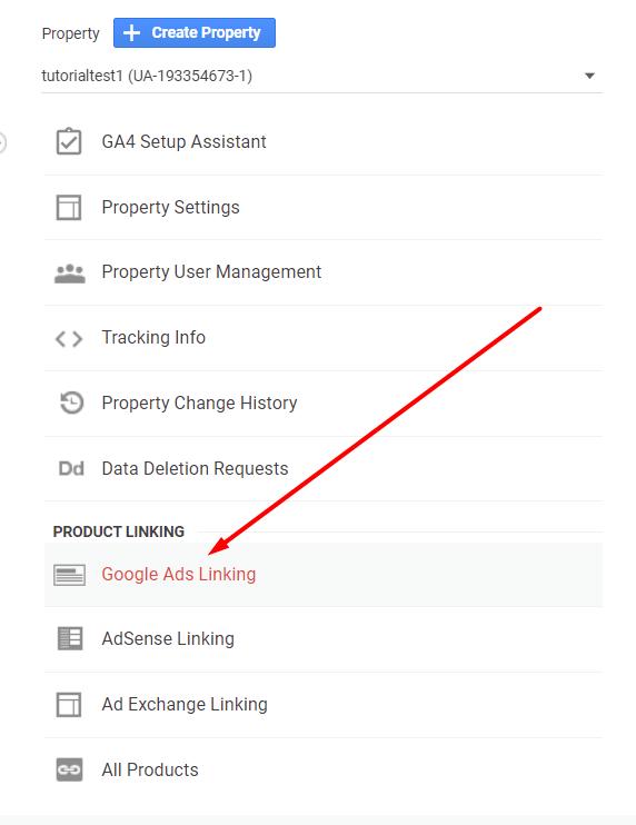 Conversion tracking - menu Google Ads Linking