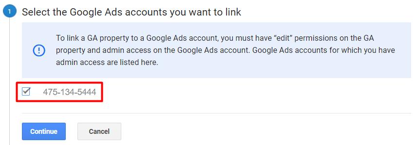 Checkbox akun Google Ads