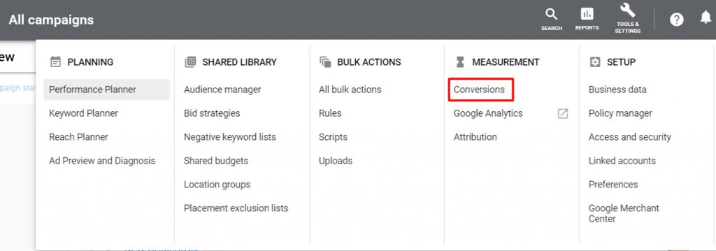 Menu conversions di Google Ads
