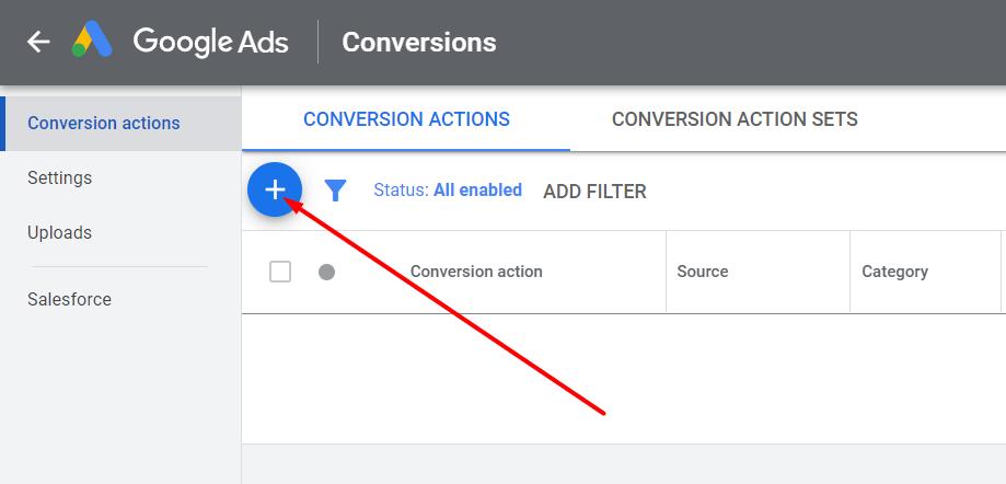 Tombol untuk menghubungkan Google Analytics dengan Google Ads