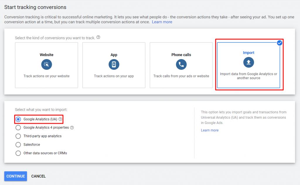 Mengimpor data Google Analytics ke Google Ads