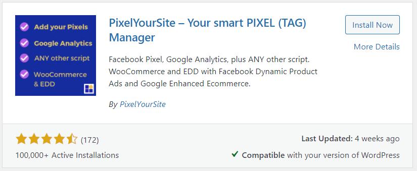 Conversion tracking - plugin PixelYourSite
