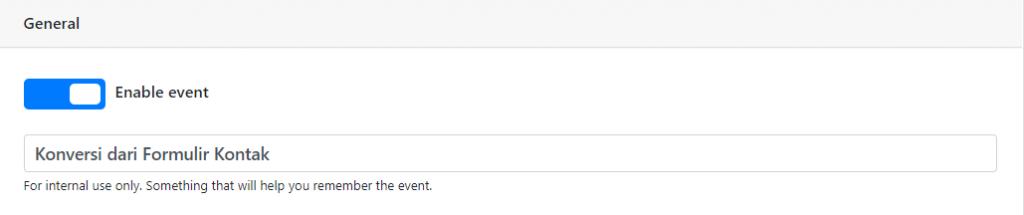 Menentukan nama event tracking di PixelYourSite