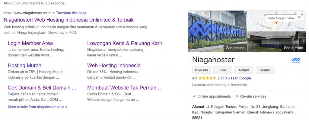 tampilan niagahoster di serp google