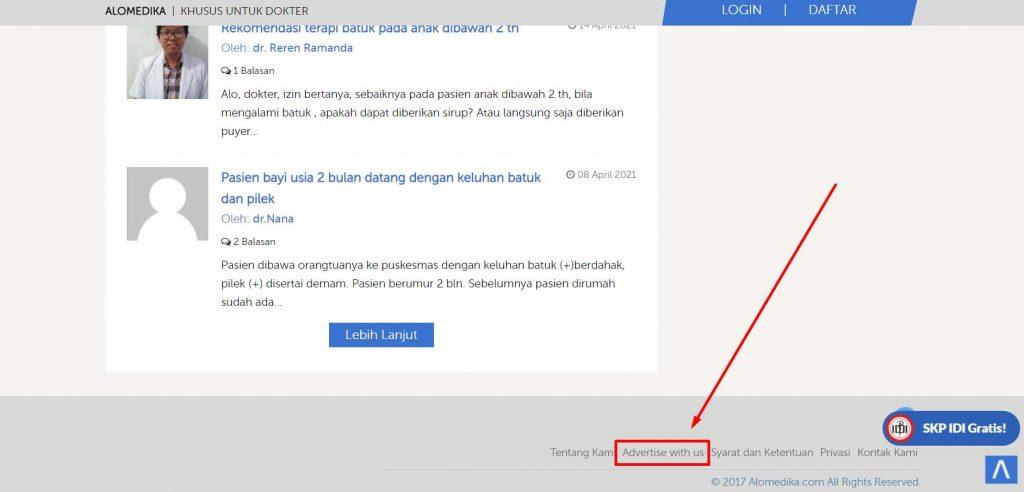contoh direct advertising di website