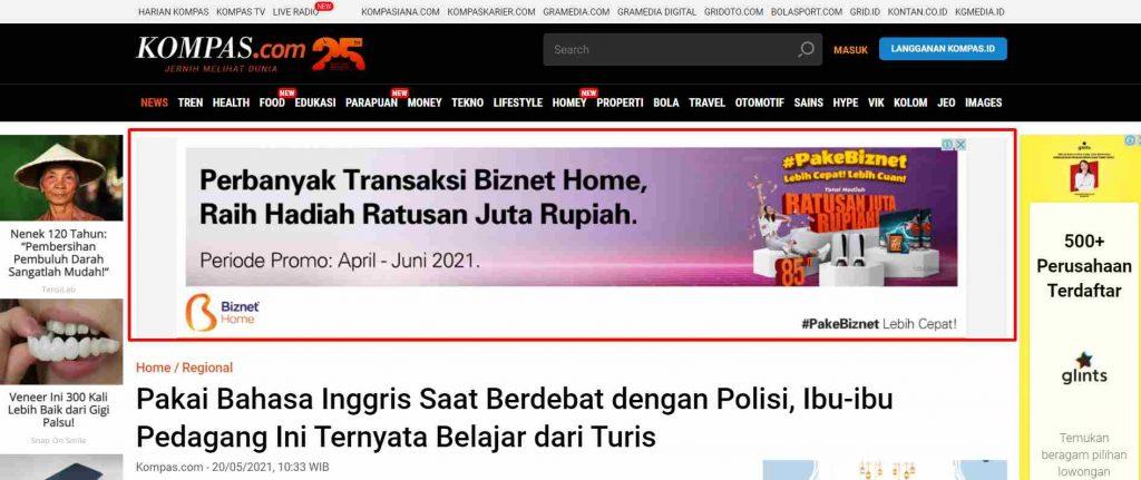 contoh display advertising di blog media massa