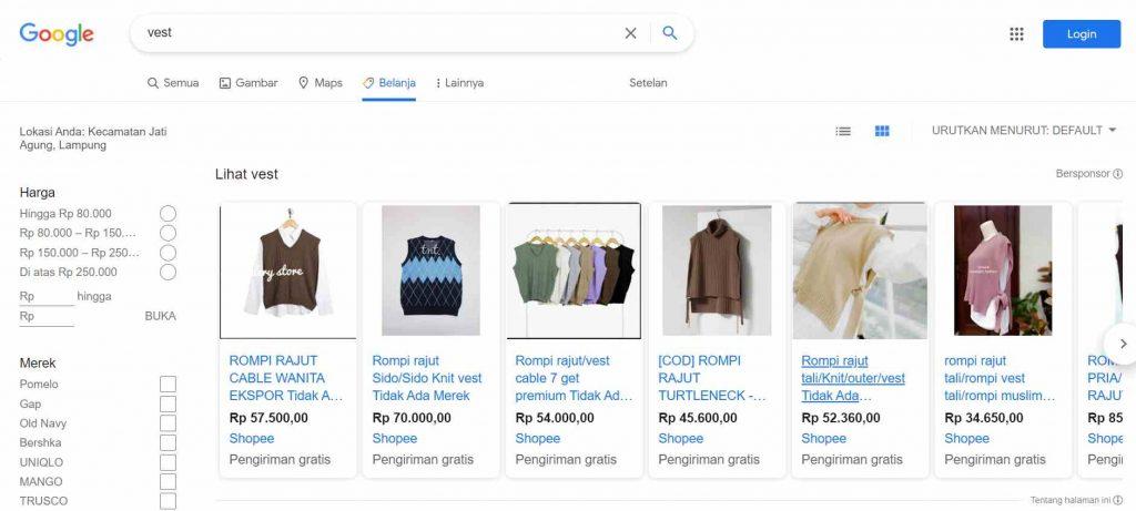 contoh penggunaan google shopping ads