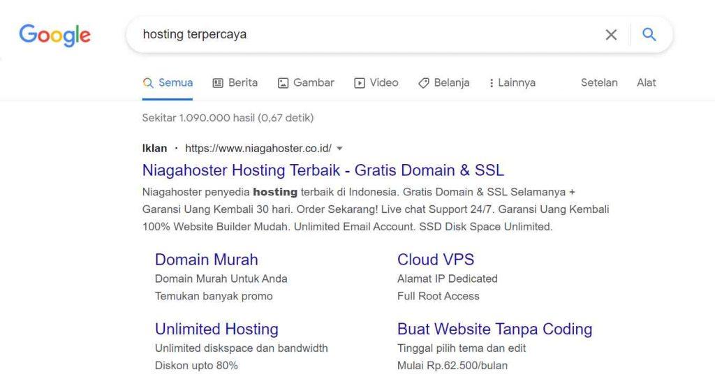 salah satu contoh search engine marketing