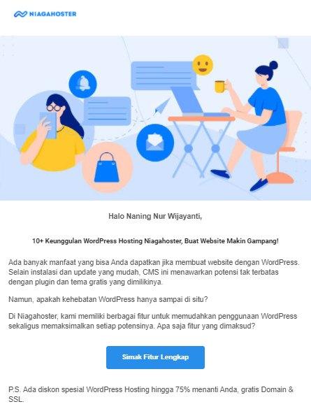 salah satu contoh email marketing yang dikirim ke email audiens