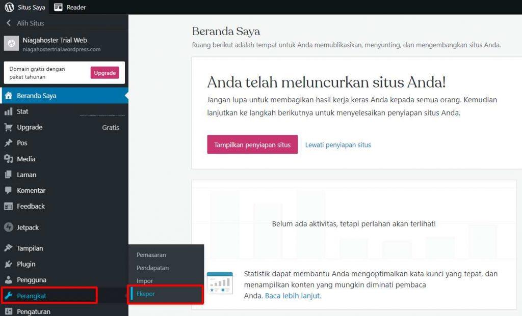 cara export WordPress