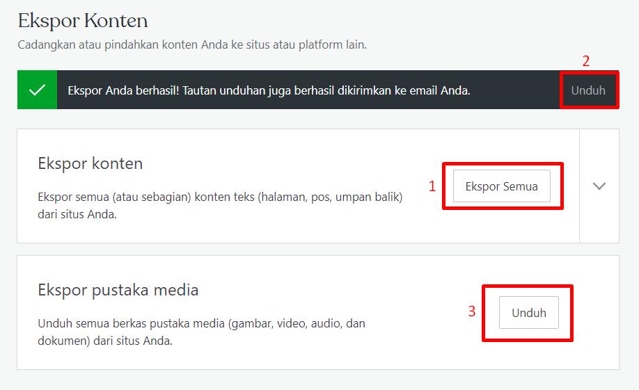 mengunduh semua konten WordPress yang ingin diexport