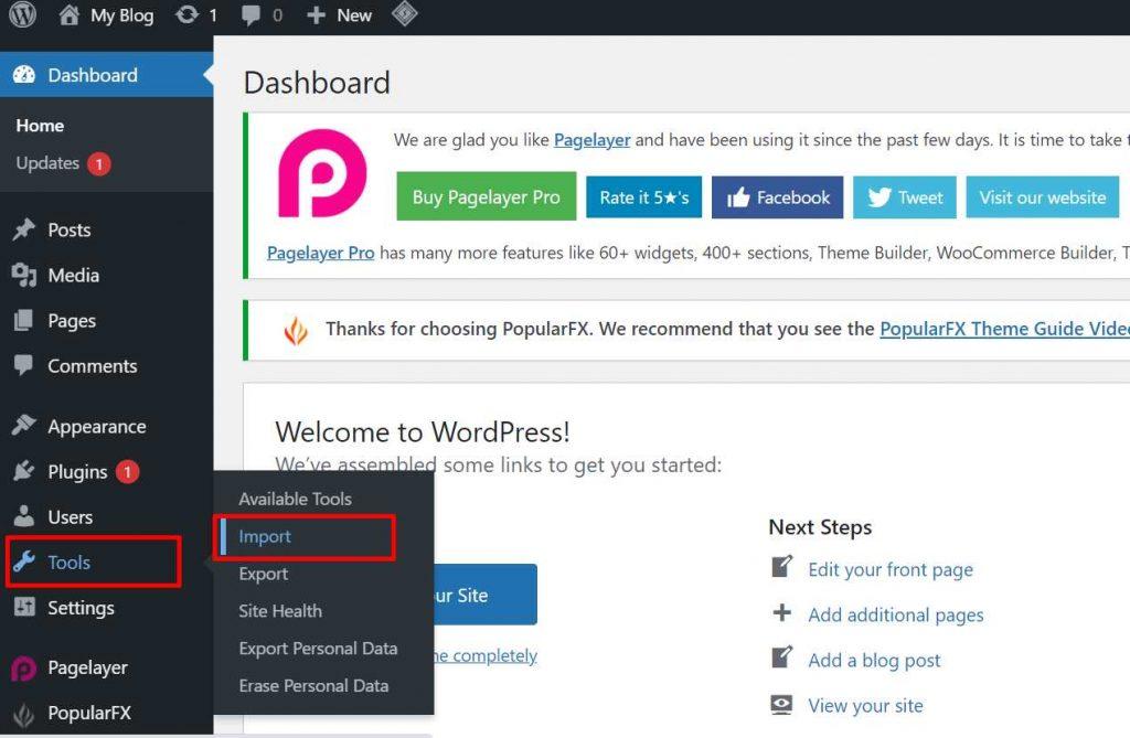cara import WordPress lama ke WordPress baru