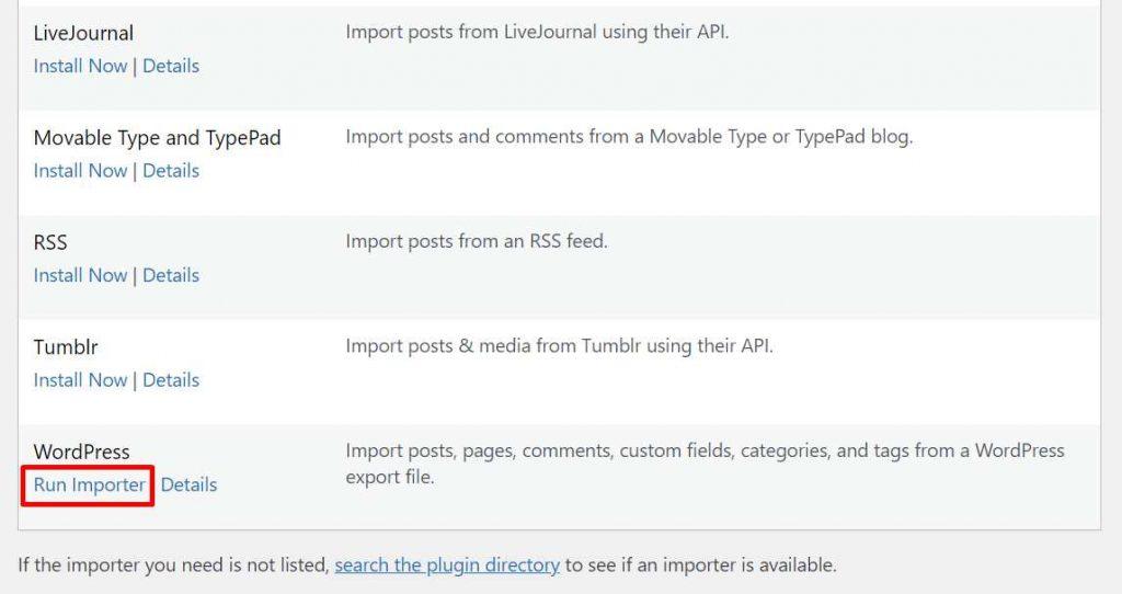 cara import WordPress dengan Run Importer