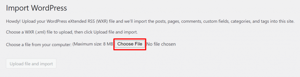 pilih file dari WordPress lama