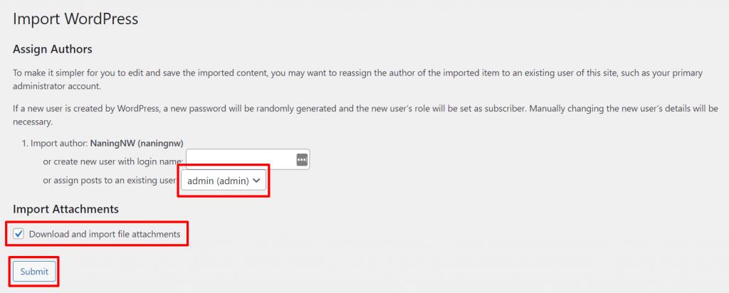 submit file import WordPress