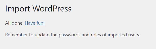 Import WordPress berhasil