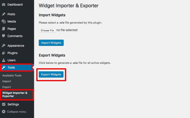 download file widget WordPress yang ingin di export