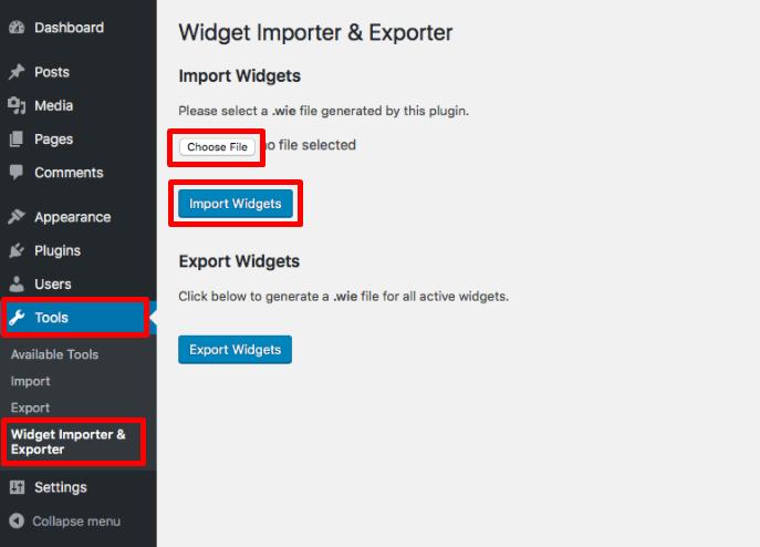 upload file widget yang ingin di import