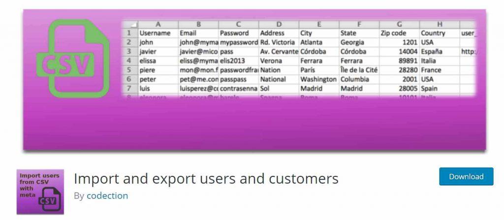 plugin untuk export dan import data user dan customer di WordPress