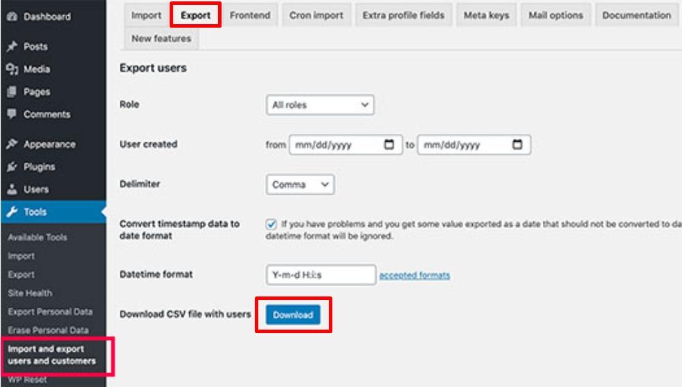 cara export data user dan customer di WordPress