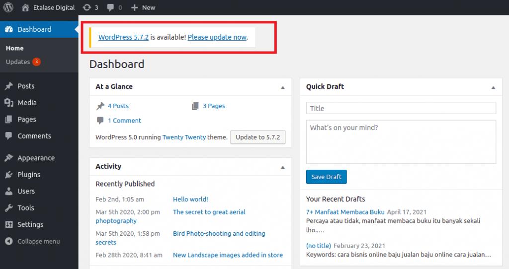 salah satu cara mengamankan wordpress adalah dengan update wordpress terbaru