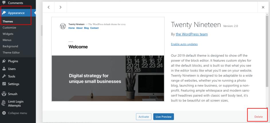 meningkatkan keamanan WordPress dengan hapus tema yang tak dibutuhkan