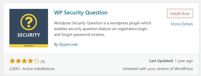 langkah pertama install plugin WP Security Question