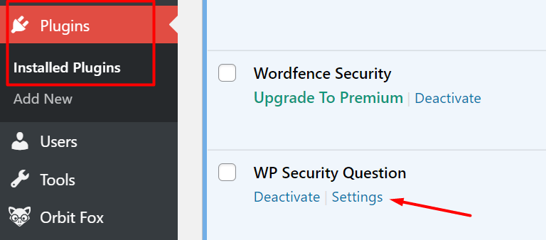 langkah kedua instal plugin wp security question