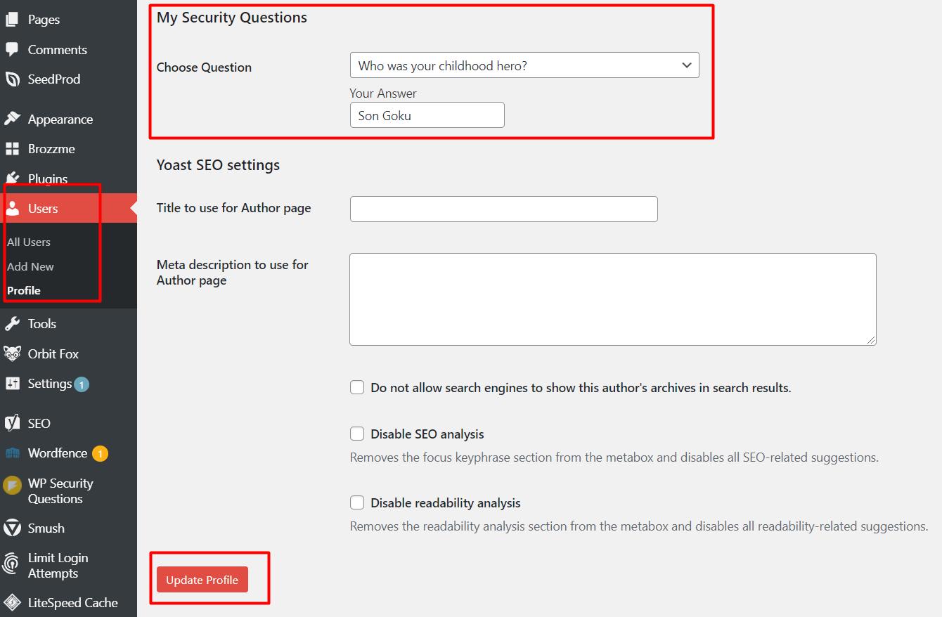 langkah keenam install plugin wp security question