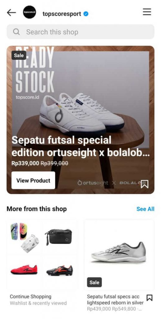 halaman toko di instagram shop