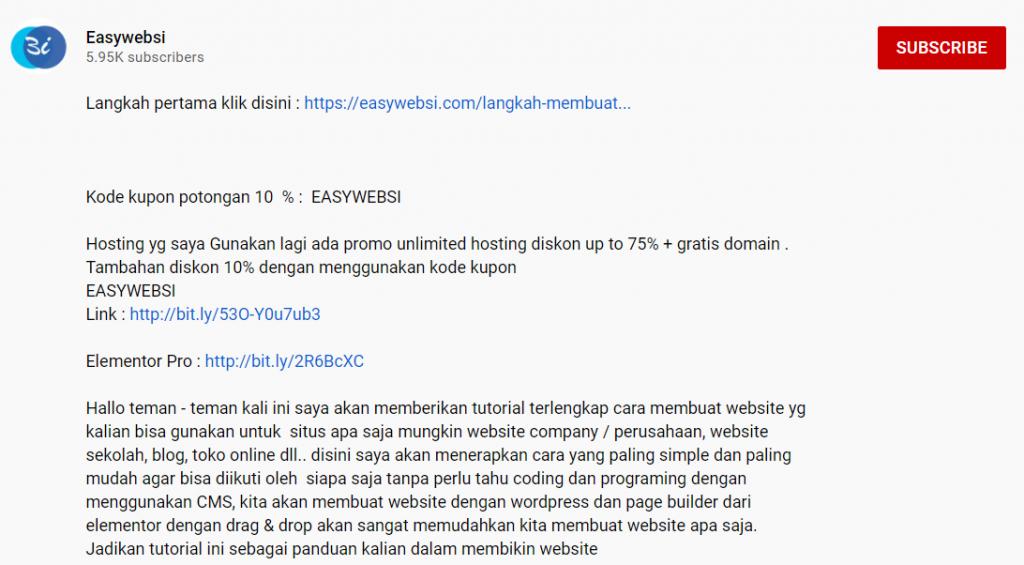 kupon afiliasi Niagahoster di YouTube Easywebsi
