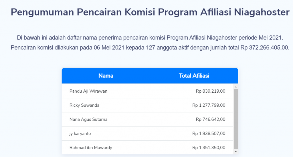 data pencairan komisi afiliasi Niagahoster