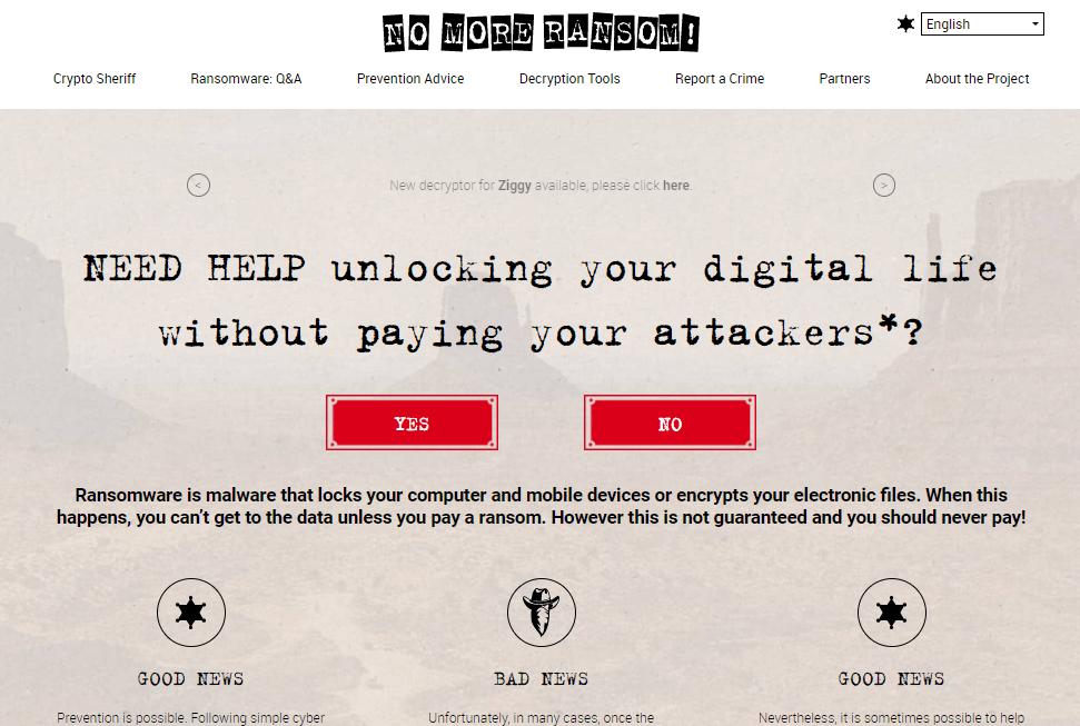 Tipe Decryptor dari Website No More Ransom