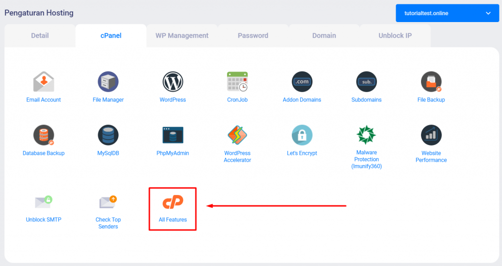 Menu all features cPanel di Member Area Niagahoster
