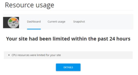 Contoh peringatan resource limit di cPanel yang akan menyebabkan website overload