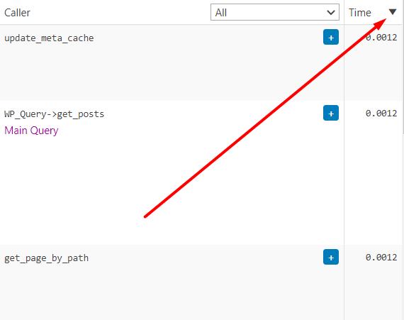 Tanda panah untuk mengurutkan query berdasarkan durasi